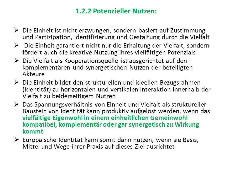 1.2.2 Potenzieller Nutzen:  Die Einheit ist nicht erzwungen, sondern basiert auf Zustimmung und Partizipation, Identifizierung und Gestaltung durch d