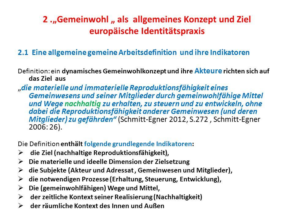 """2.""""Gemeinwohl """" als allgemeines Konzept und Ziel europäische Identitätspraxis 2.1 Eine allgemeine gemeine Arbeitsdefinition und ihre Indikatoren Defin"""