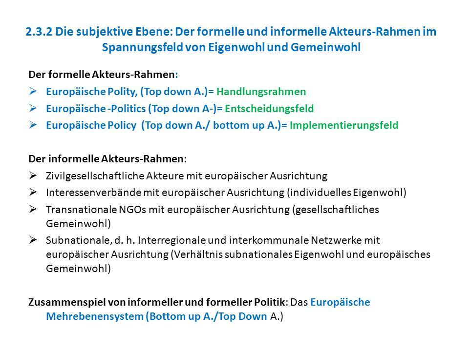 2.3.2 Die subjektive Ebene: Der formelle und informelle Akteurs-Rahmen im Spannungsfeld von Eigenwohl und Gemeinwohl Der formelle Akteurs-Rahmen:  Eu
