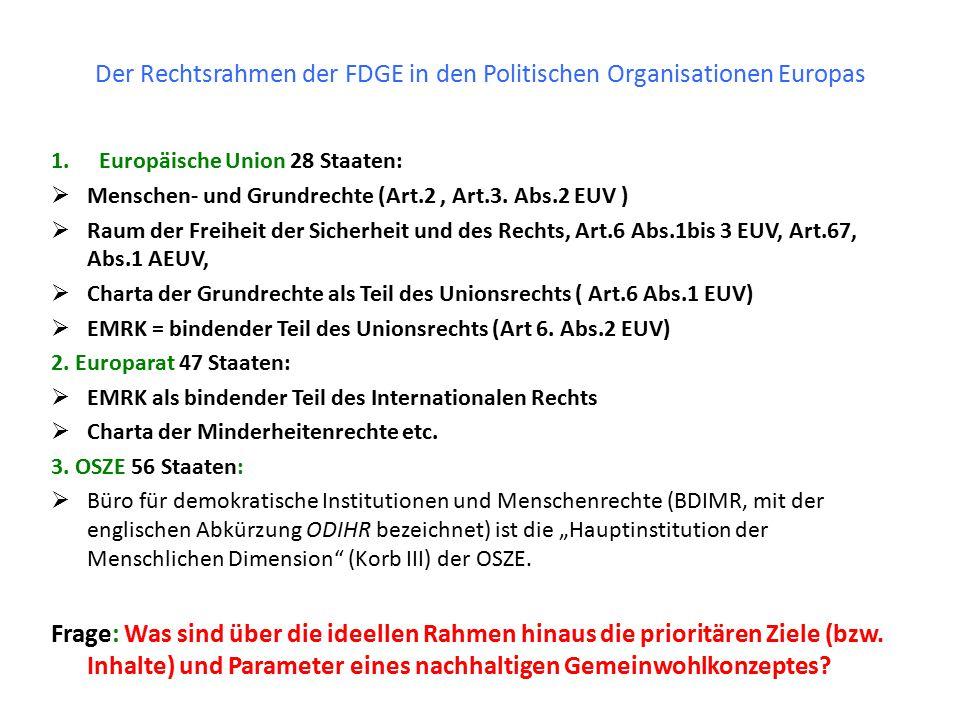 Der Rechtsrahmen der FDGE in den Politischen Organisationen Europas 1.Europäische Union 28 Staaten:  Menschen- und Grundrechte (Art.2, Art.3. Abs.2 E