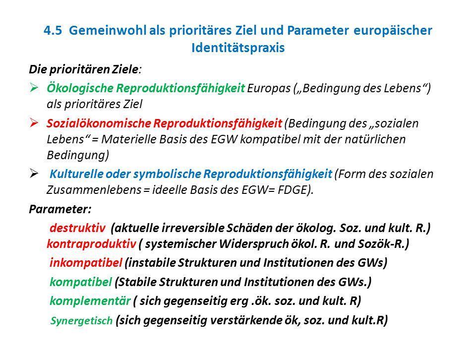 """4.5 Gemeinwohl als prioritäres Ziel und Parameter europäischer Identitätspraxis Die prioritären Ziele:  Ökologische Reproduktionsfähigkeit Europas ("""""""