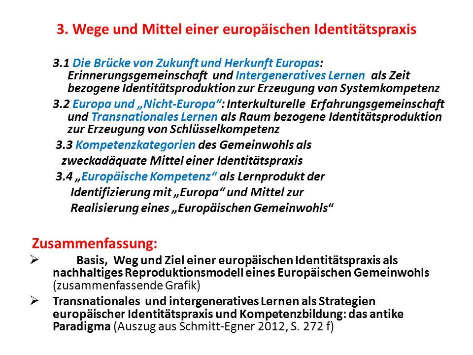 3. Wege und Mittel einer europäischen Identitätspraxis 3.1 Die Brücke von Zukunft und Herkunft Europas: Erinnerungsgemeinschaft und Intergeneratives L