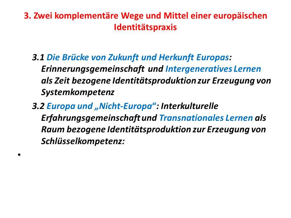3. Zwei komplementäre Wege und Mittel einer europäischen Identitätspraxis 3.1 Die Brücke von Zukunft und Herkunft Europas: Erinnerungsgemeinschaft und