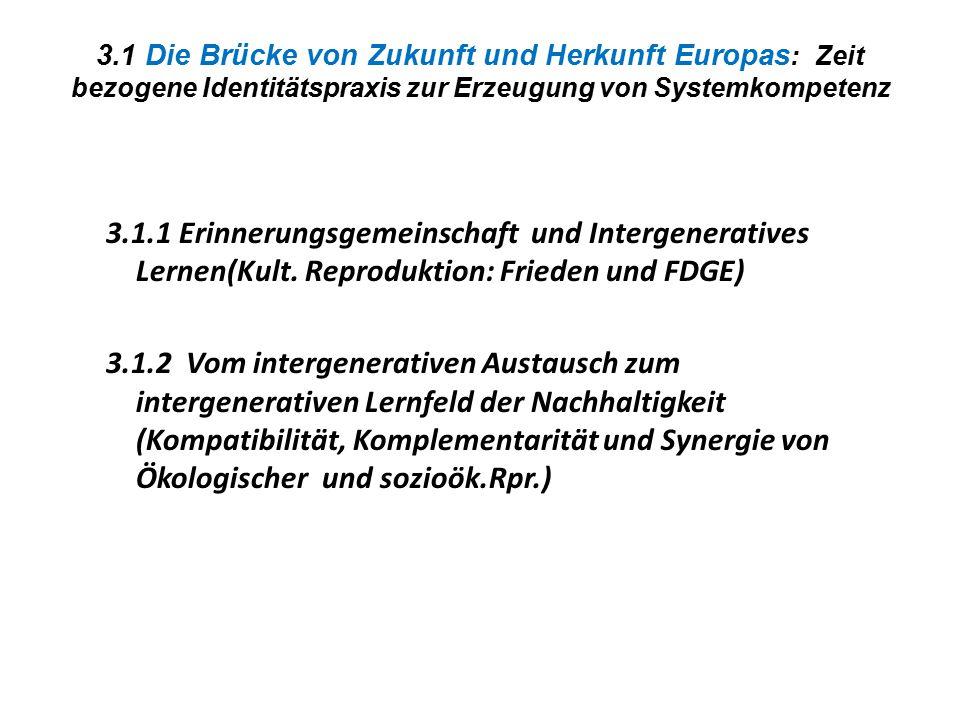 3.1 Die Brücke von Zukunft und Herkunft Europas : Zeit bezogene Identitätspraxis zur Erzeugung von Systemkompetenz 3.1.1 Erinnerungsgemeinschaft und I