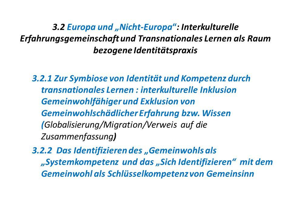 """3.2 Europa und """"Nicht-Europa"""": Interkulturelle Erfahrungsgemeinschaft und Transnationales Lernen als Raum bezogene Identitätspraxis 3.2.1 Zur Symbiose"""