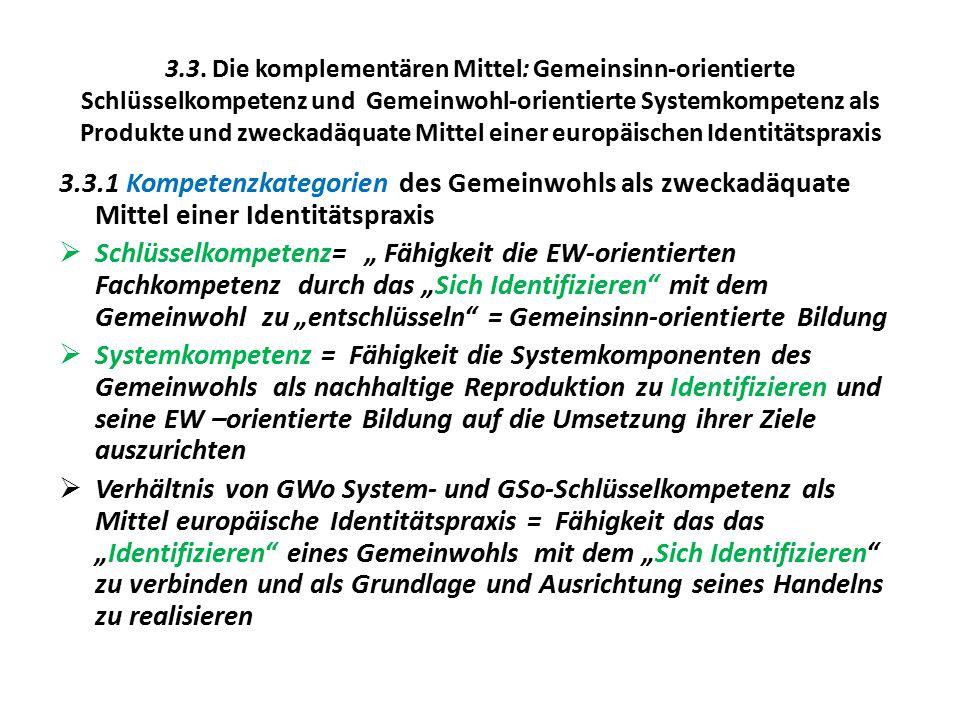 3.3. Die komplementären Mittel: Gemeinsinn-orientierte Schlüsselkompetenz und Gemeinwohl-orientierte Systemkompetenz als Produkte und zweckadäquate Mi