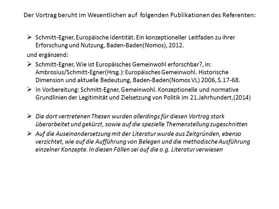 Der Vortrag beruht im Wesentlichen auf folgenden Publikationen des Referenten:  Schmitt-Egner, Europäische Identität. Ein konzeptioneller Leitfaden z