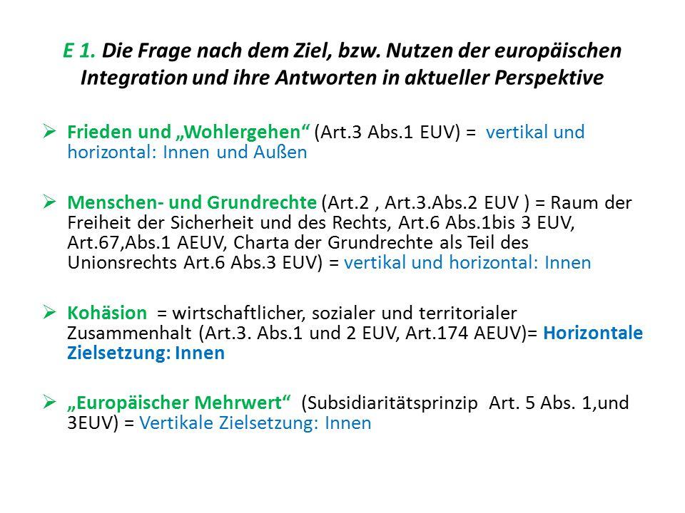 """E 1. Die Frage nach dem Ziel, bzw. Nutzen der europäischen Integration und ihre Antworten in aktueller Perspektive  Frieden und """"Wohlergehen"""" (Art.3"""