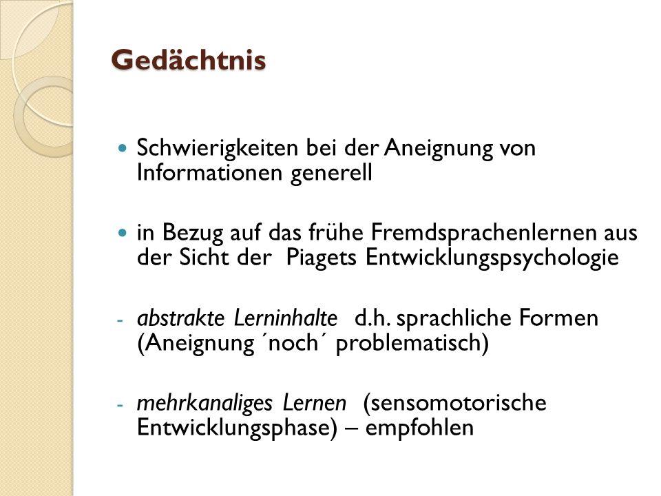 Gedächtnis Schwierigkeiten bei der Aneignung von Informationen generell in Bezug auf das frühe Fremdsprachenlernen aus der Sicht der Piagets Entwicklungspsychologie - abstrakte Lerninhalte d.h.