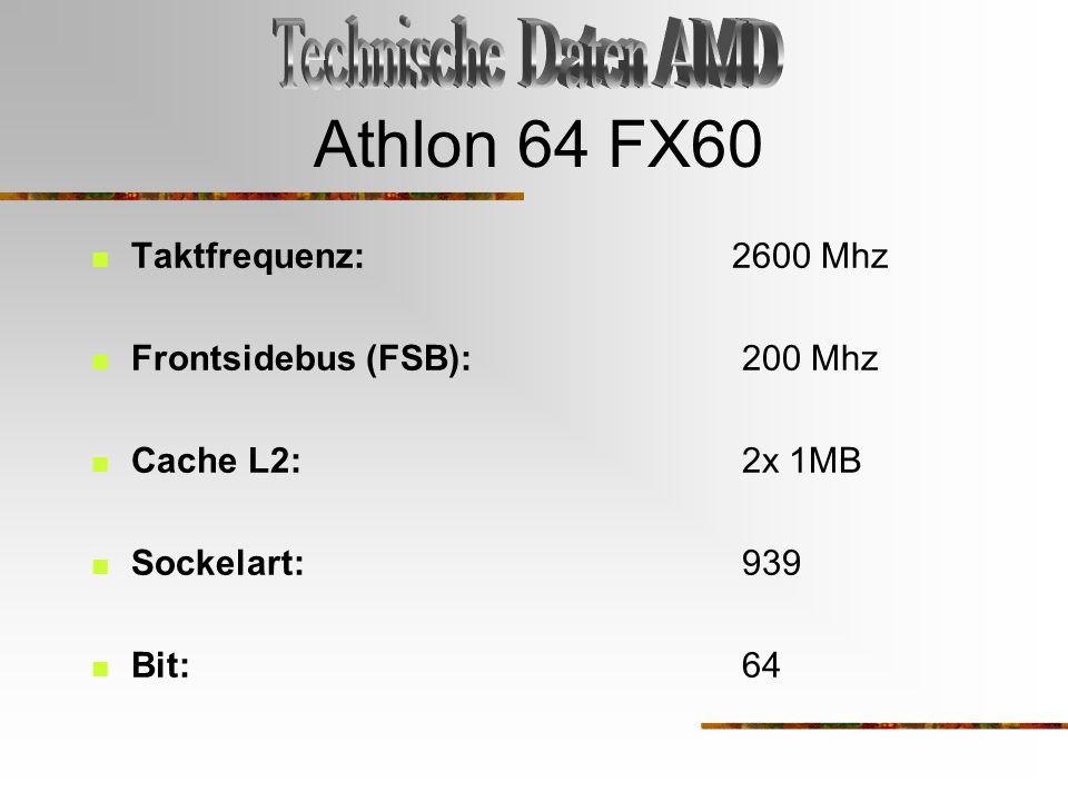 Athlon 64 FX60 Taktfrequenz: 2600 Mhz Frontsidebus (FSB): 200 Mhz Cache L2: 2x 1MB Sockelart: 939 Bit: 64