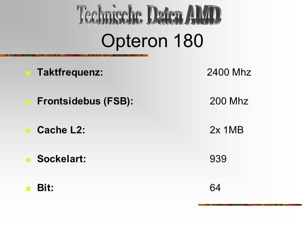 Opteron 180 Taktfrequenz: 2400 Mhz Frontsidebus (FSB): 200 Mhz Cache L2: 2x 1MB Sockelart: 939 Bit: 64