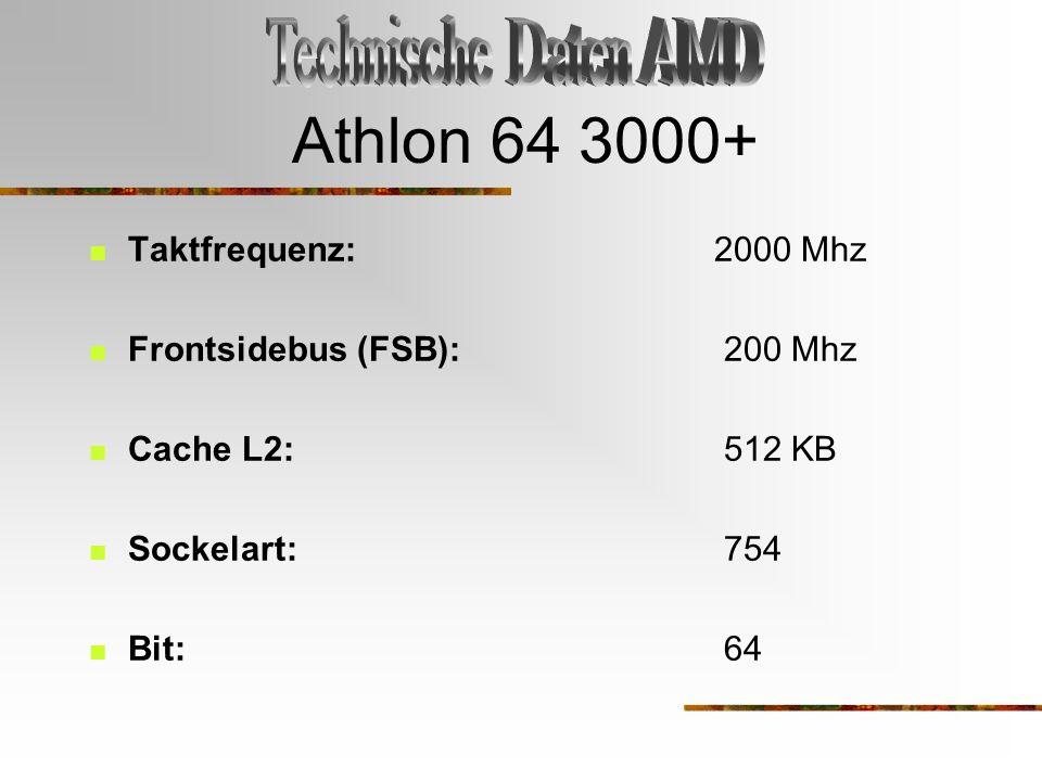 Athlon 64 3000+ Taktfrequenz: 2000 Mhz Frontsidebus (FSB): 200 Mhz Cache L2: 512 KB Sockelart: 754 Bit: 64