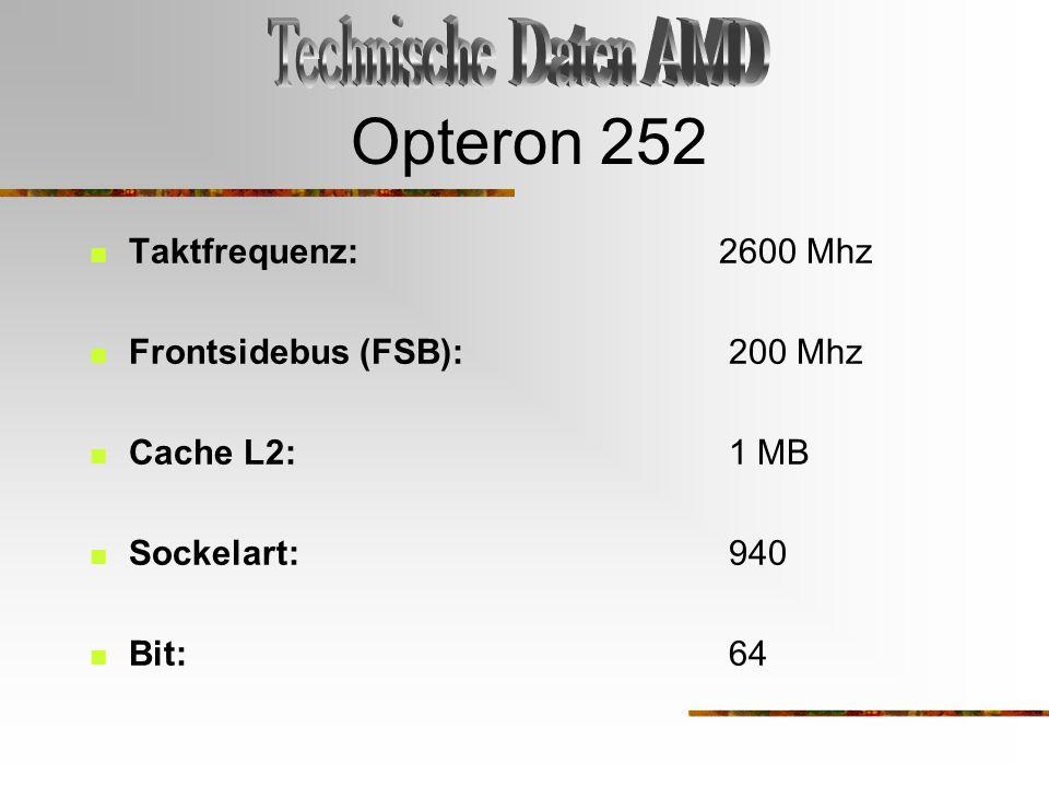 Opteron 252 Taktfrequenz: 2600 Mhz Frontsidebus (FSB): 200 Mhz Cache L2: 1 MB Sockelart: 940 Bit: 64