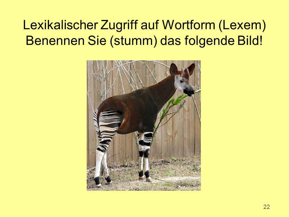 22 Lexikalischer Zugriff auf Wortform (Lexem) Benennen Sie (stumm) das folgende Bild!