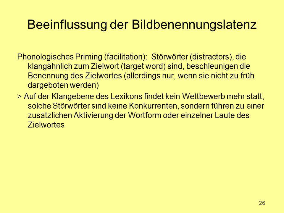 Beeinflussung der Bildbenennungslatenz Phonologisches Priming (facilitation): Störwörter (distractors), die klangähnlich zum Zielwort (target word) si