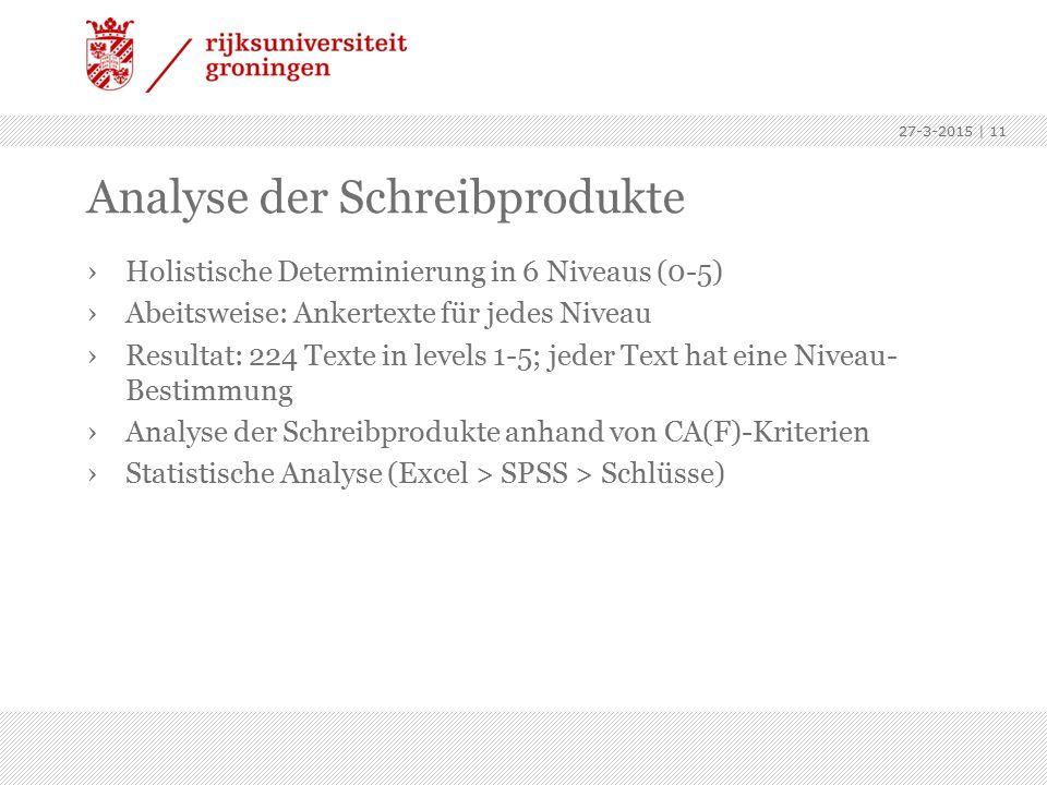Analyse der Schreibprodukte ›Holistische Determinierung in 6 Niveaus (0-5) ›Abeitsweise: Ankertexte für jedes Niveau ›Resultat: 224 Texte in levels 1-