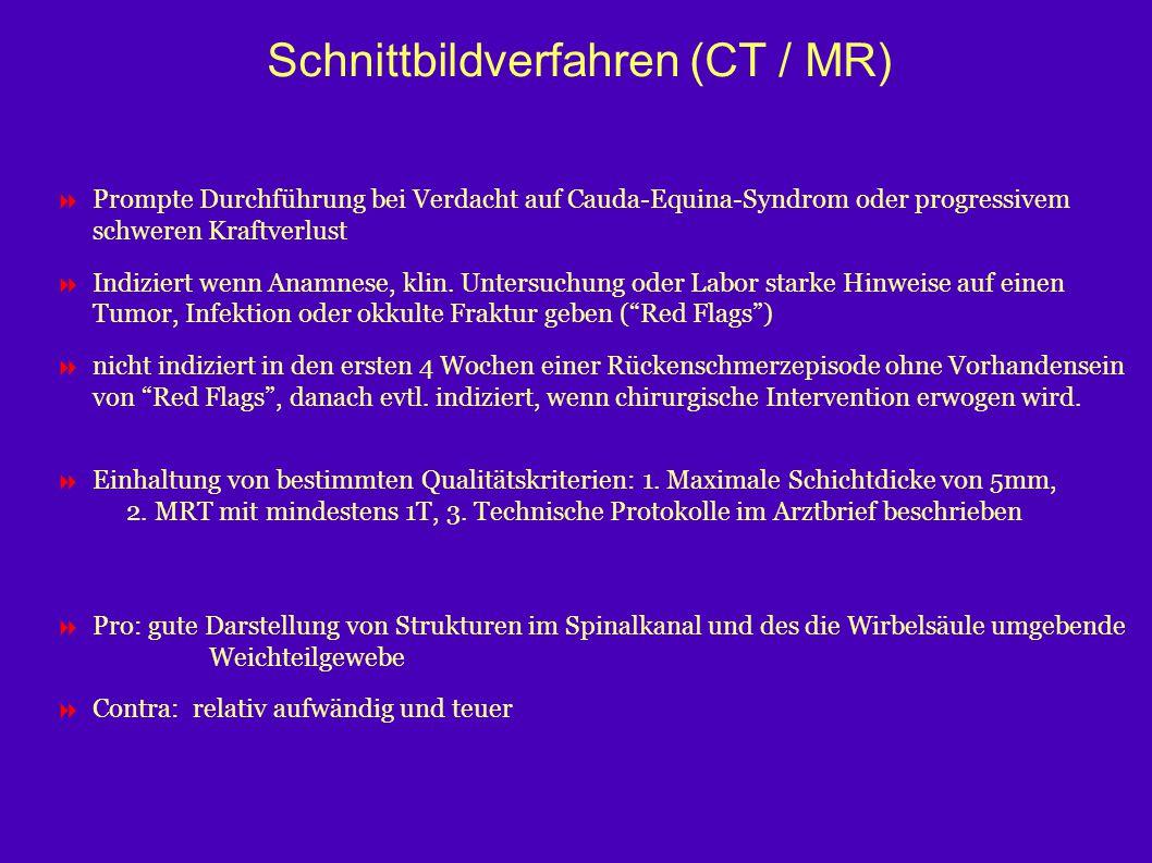 Schnittbildverfahren (CT / MR)  Prompte Durchführung bei Verdacht auf Cauda-Equina-Syndrom oder progressivem schweren Kraftverlust  Indiziert wenn A