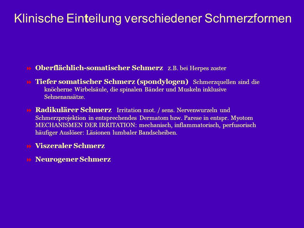 Klinische Einteilung verschiedener Schmerzformen  Oberflächlich-somatischer Schmerz z.B. bei Herpes zoster  Tiefer somatischer Schmerz (spondylogen)