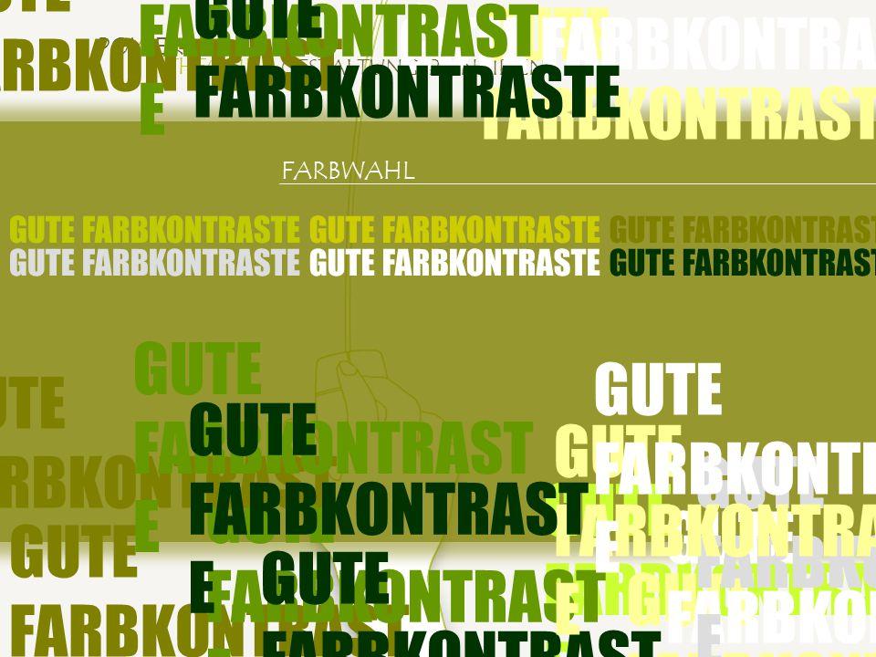 POWERPOINT THEORIE GESTALTUNGSPRINZIPIEN GUTE FARBKONTRASTE FARBWAHL GUTE FARBKONTRASTE