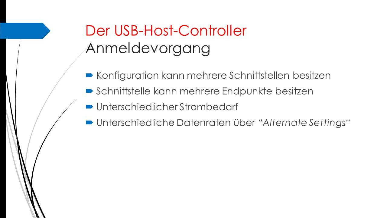 Der USB-Host-Controller Anmeldevorgang  Konfiguration kann mehrere Schnittstellen besitzen  Schnittstelle kann mehrere Endpunkte besitzen  Untersch