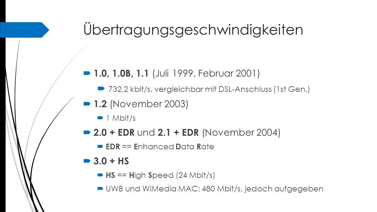 Übertragungsgeschwindigkeiten  1.0, 1.0B, 1.1 (Juli 1999, Februar 2001)  732,2 kbit/s, vergleichbar mit DSL-Anschluss (1st Gen.)  1.2 (November 200