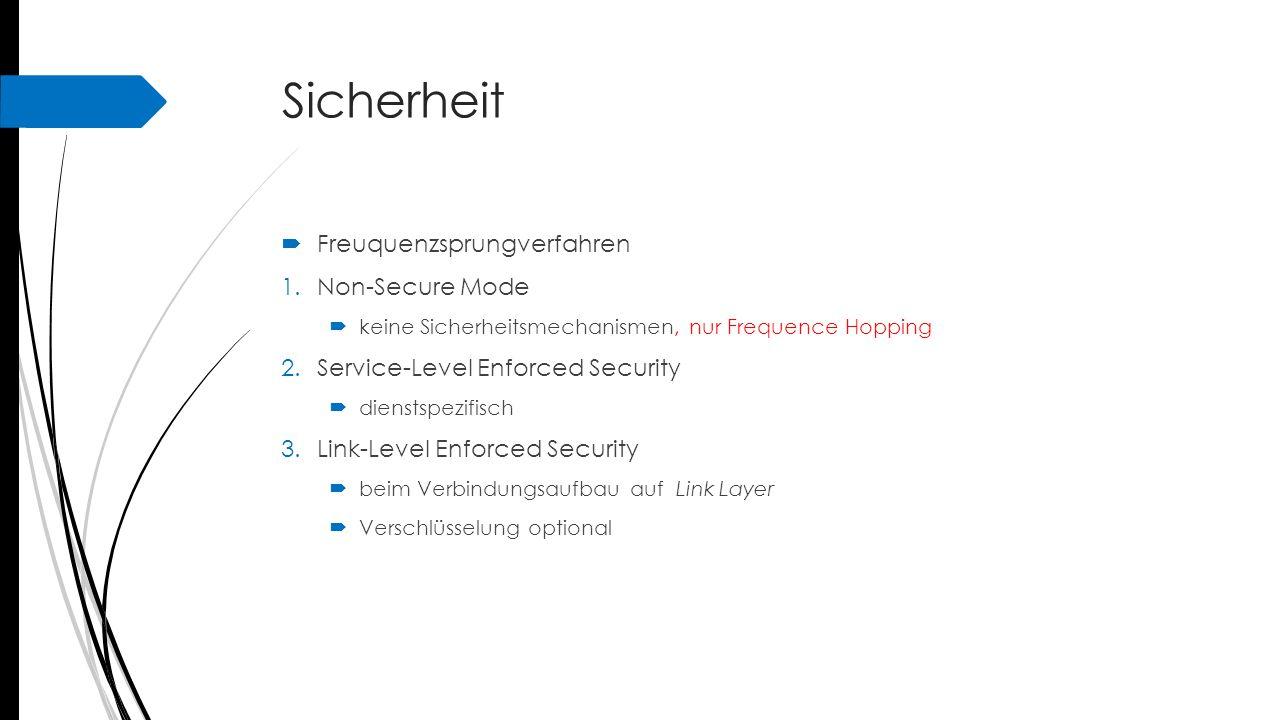 Sicherheit  Freuquenzsprungverfahren 1.Non-Secure Mode  keine Sicherheitsmechanismen, nur Frequence Hopping 2.Service-Level Enforced Security  dien