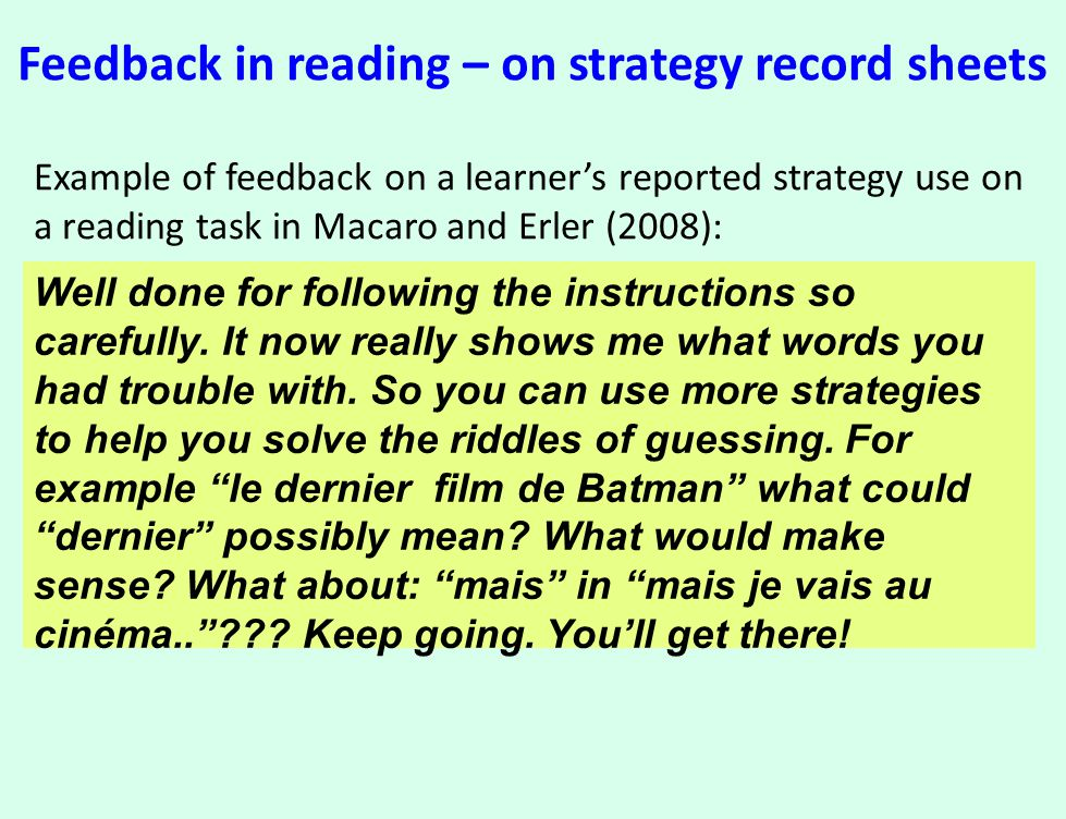 Feedback in reading – on strategy record sheets Example of feedback on a learner's reported strategy use on a reading task in Macaro and Erler (2008):