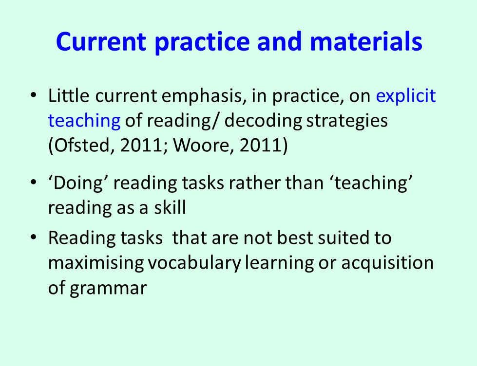 Guided practice Using an initial paragraph or short section, guide the class in using strategies to understand it For example, do they have any ideas about the meaning of certain parts; ask them why they think this; discuss the effectiveness of the strategies and knowledge bases they use.
