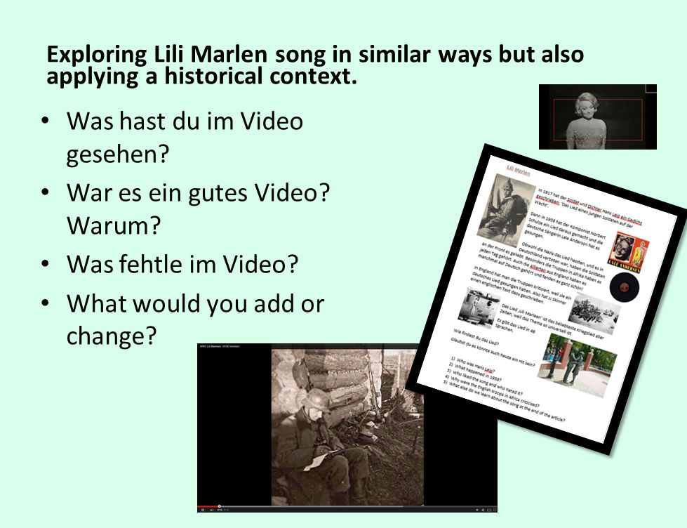 Exploring Lili Marlen song in similar ways but also applying a historical context.