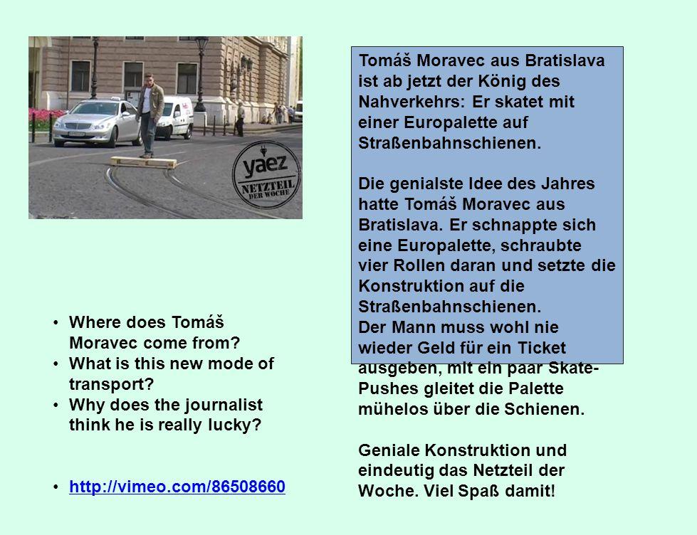 Tomáš Moravec aus Bratislava ist ab jetzt der König des Nahverkehrs: Er skatet mit einer Europalette auf Straßenbahnschienen.