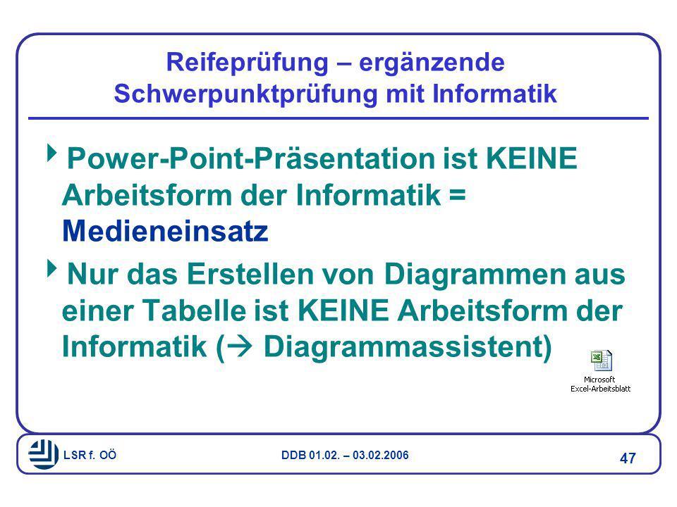 LSR f. OÖ DDB 01.02. – 03.02.2006 47 Reifeprüfung – ergänzende Schwerpunktprüfung mit Informatik  Power-Point-Präsentation ist KEINE Arbeitsform der