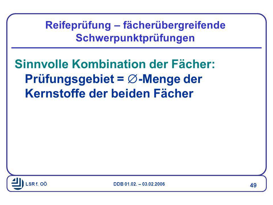 LSR f. OÖ DDB 01.02. – 03.02.2006 49 Reifeprüfung – fächerübergreifende Schwerpunktprüfungen Sinnvolle Kombination der Fächer: Prüfungsgebiet =  -Men