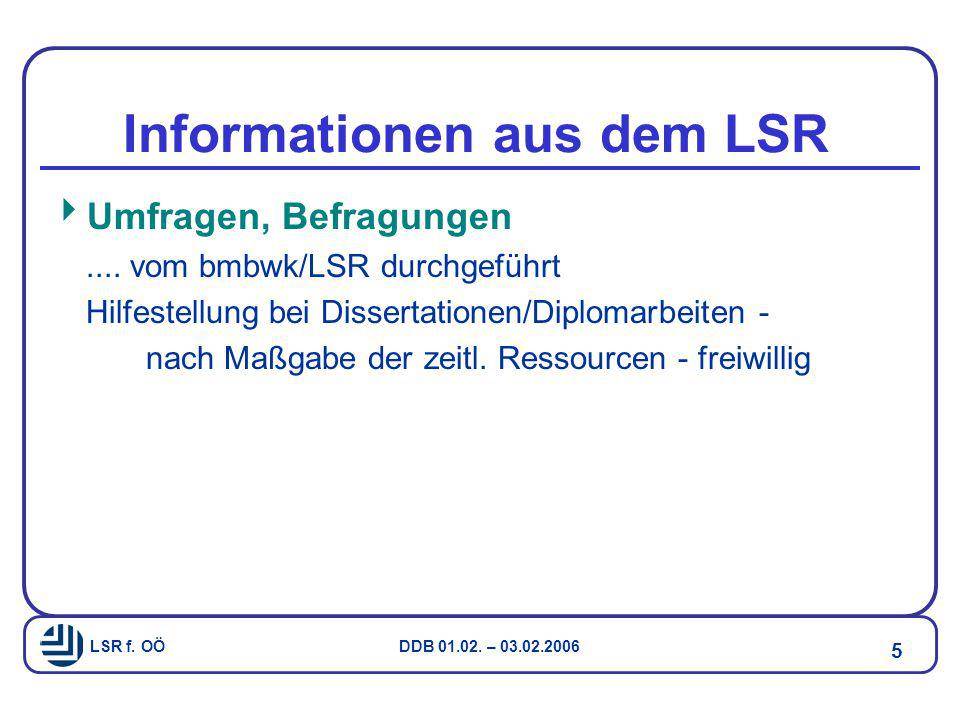 LSR f. OÖ DDB 01.02. – 03.02.2006 5 Informationen aus dem LSR  Umfragen, Befragungen.... vom bmbwk/LSR durchgeführt Hilfestellung bei Dissertationen/
