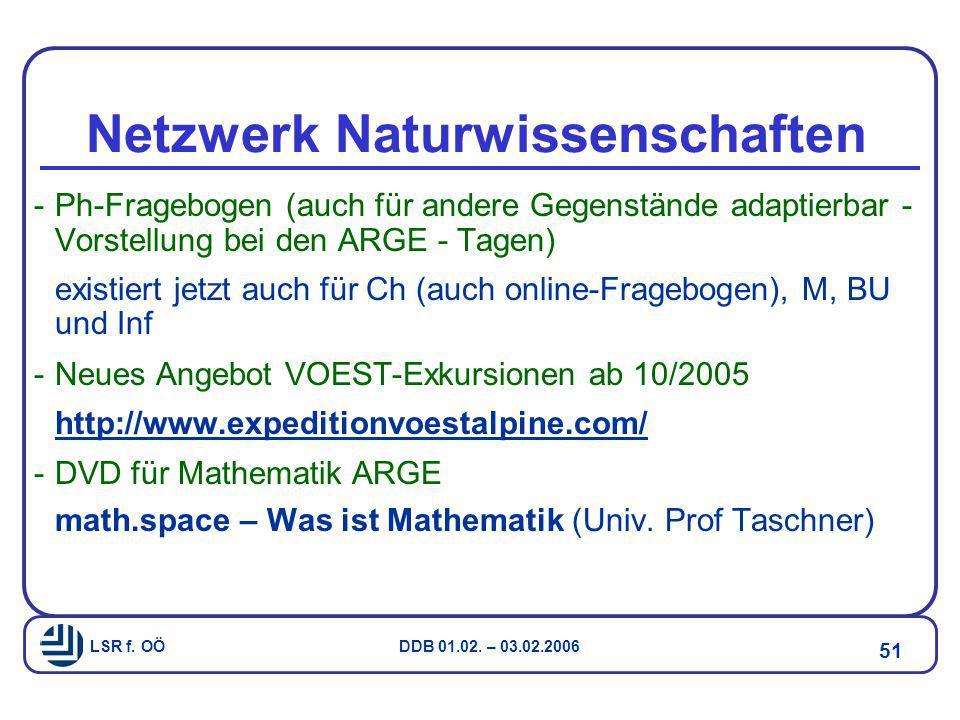 LSR f. OÖ DDB 01.02. – 03.02.2006 51 Netzwerk Naturwissenschaften -Ph-Fragebogen (auch für andere Gegenstände adaptierbar - Vorstellung bei den ARGE -