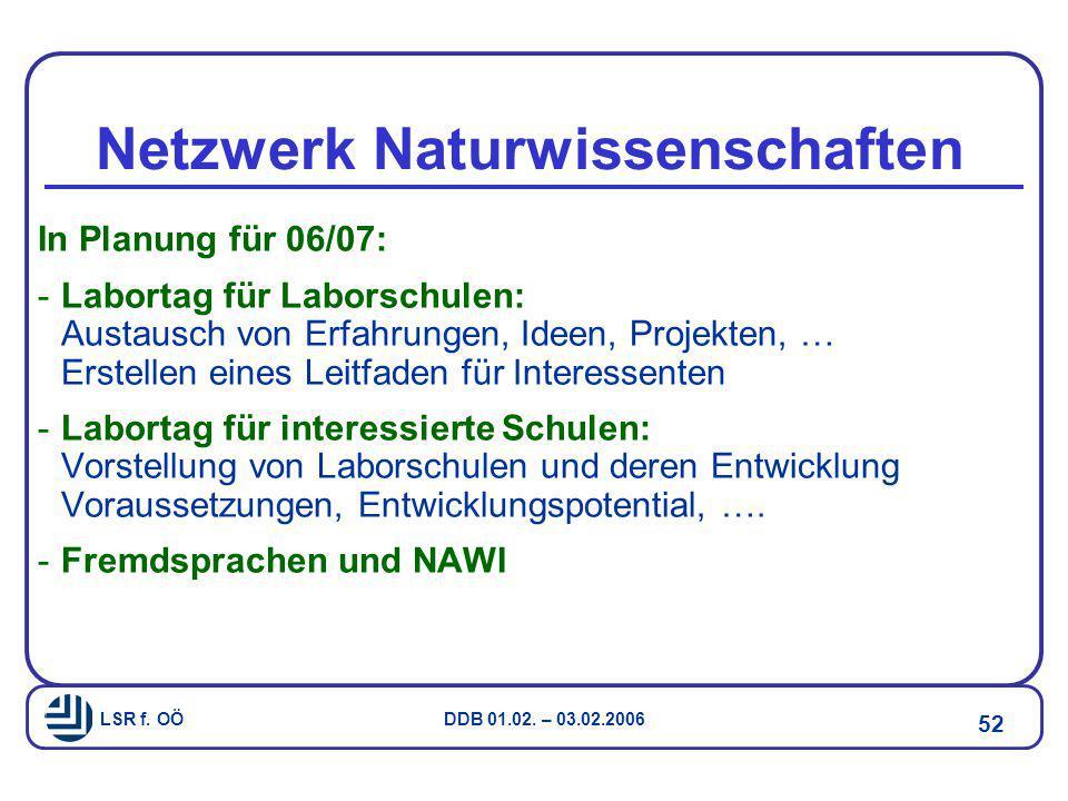 LSR f. OÖ DDB 01.02. – 03.02.2006 52 Netzwerk Naturwissenschaften In Planung für 06/07: -Labortag für Laborschulen: Austausch von Erfahrungen, Ideen,