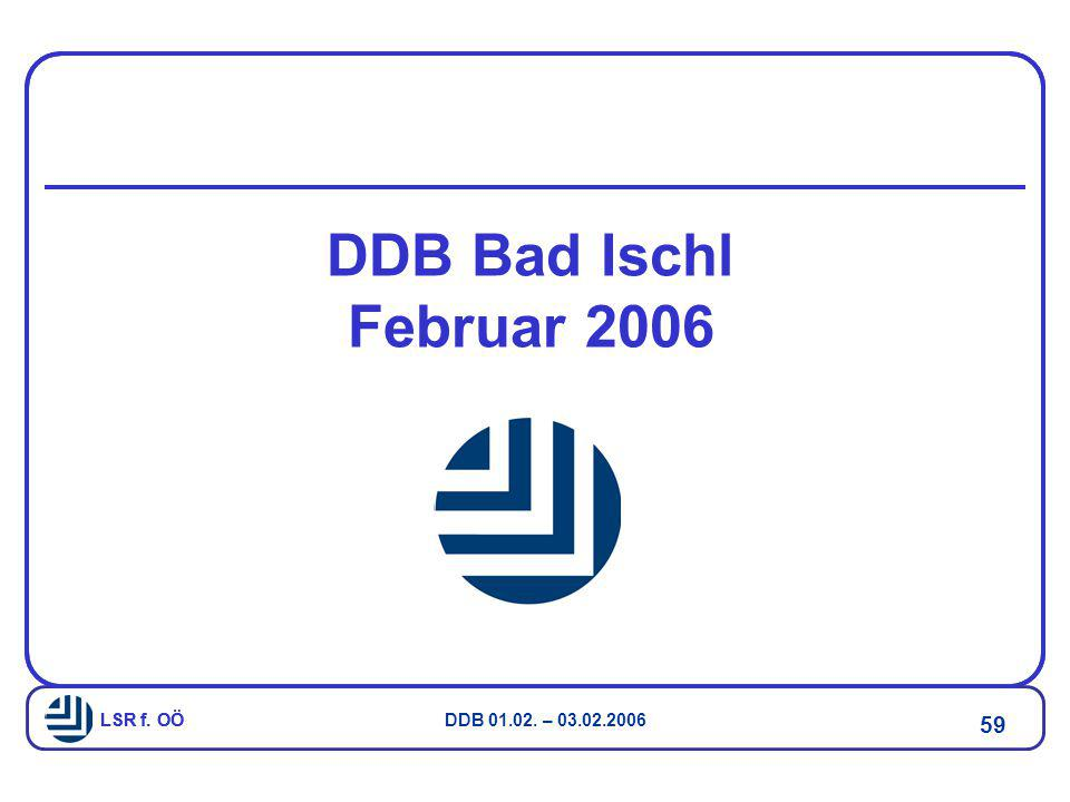 LSR f. OÖ DDB 01.02. – 03.02.2006 59 LSR f. OÖ DDB Bad Ischl Februar 2006
