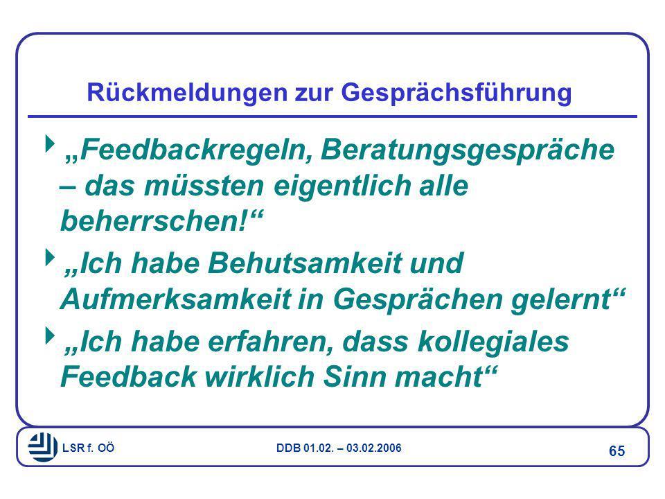 """LSR f. OÖ DDB 01.02. – 03.02.2006 65 Rückmeldungen zur Gesprächsführung  """"Feedbackregeln, Beratungsgespräche – das müssten eigentlich alle beherrsche"""