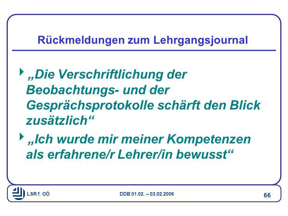 "LSR f. OÖ DDB 01.02. – 03.02.2006 66 Rückmeldungen zum Lehrgangsjournal  ""Die Verschriftlichung der Beobachtungs- und der Gesprächsprotokolle schärft"