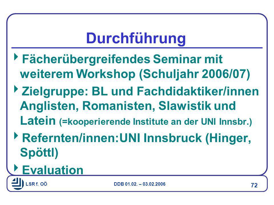 LSR f. OÖ DDB 01.02. – 03.02.2006 72 Durchführung  Fächerübergreifendes Seminar mit weiterem Workshop (Schuljahr 2006/07)  Zielgruppe: BL und Fachdi
