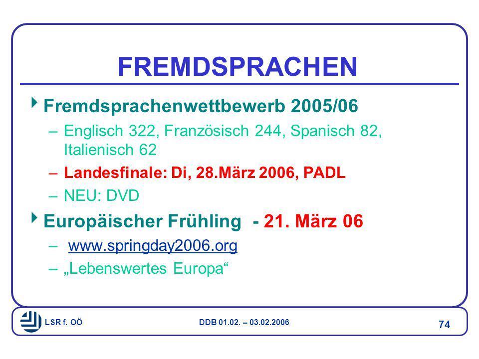 LSR f. OÖ DDB 01.02. – 03.02.2006 74 FREMDSPRACHEN  Fremdsprachenwettbewerb 2005/06 –Englisch 322, Französisch 244, Spanisch 82, Italienisch 62 –Land