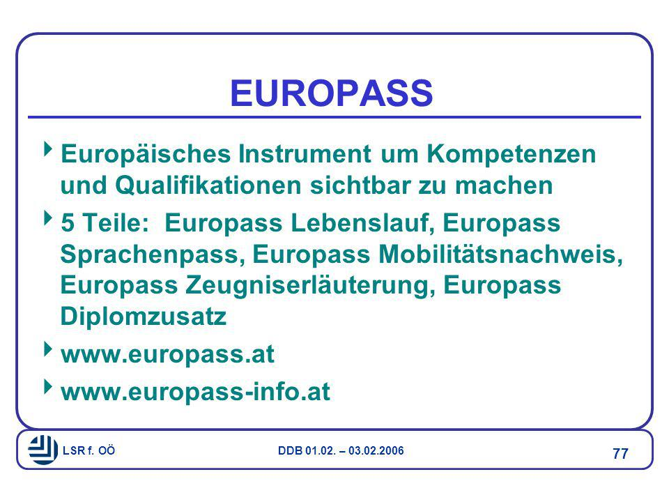 LSR f. OÖ DDB 01.02. – 03.02.2006 77 EUROPASS  Europäisches Instrument um Kompetenzen und Qualifikationen sichtbar zu machen  5 Teile: Europass Lebe