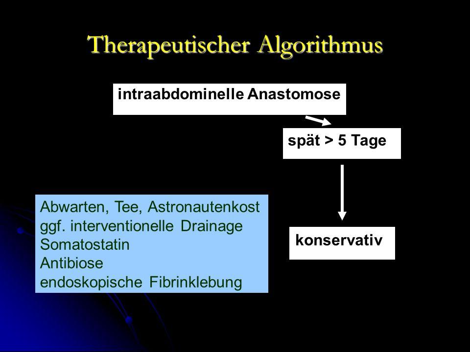Therapeutischer Algorithmus intraabdominelle Anastomose spät > 5 Tage konservativ Abwarten, Tee, Astronautenkost ggf.