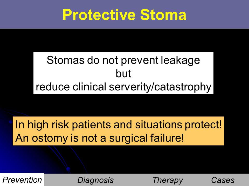 Stomas do not prevent leakage but reduce clinical serverity/catastrophy In high risk patients and situations protect! An ostomy is not a surgical fail