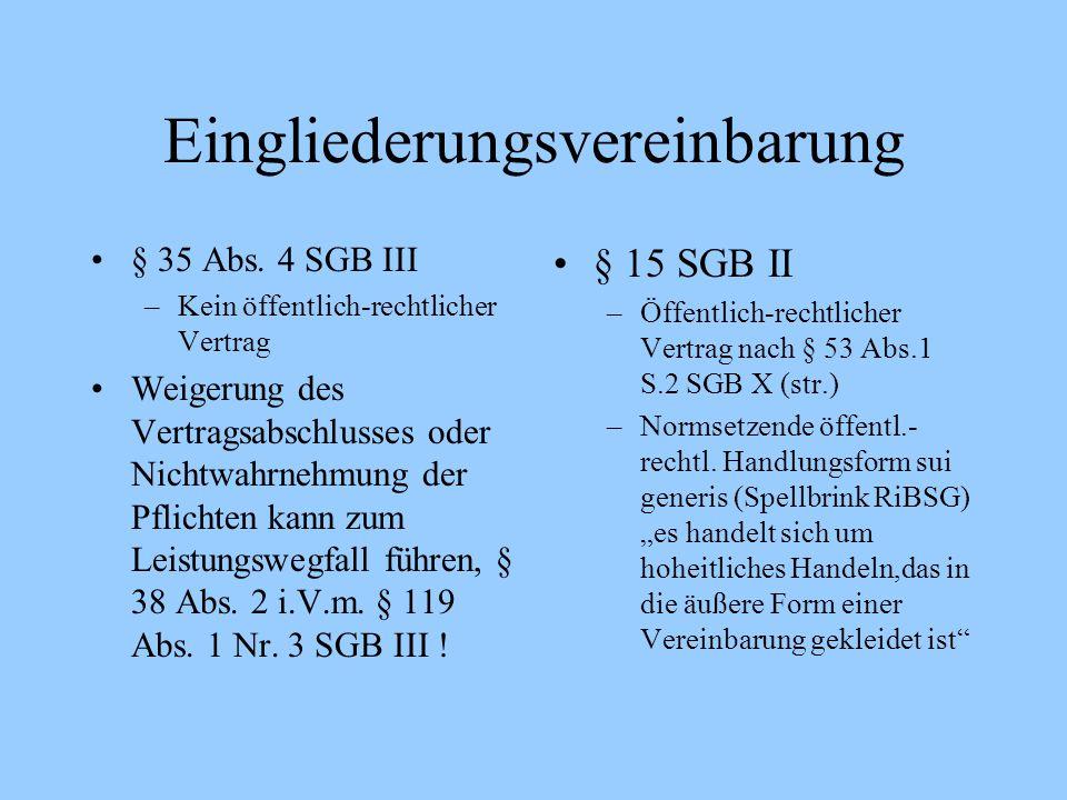Eingliederungsvereinbarung § 35 Abs. 4 SGB III –Kein öffentlich-rechtlicher Vertrag Weigerung des Vertragsabschlusses oder Nichtwahrnehmung der Pflich