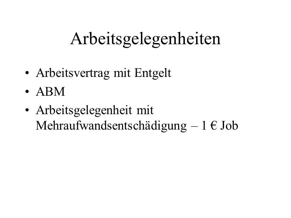 Arbeitsgelegenheiten Arbeitsvertrag mit Entgelt ABM Arbeitsgelegenheit mit Mehraufwandsentschädigung – 1 € Job