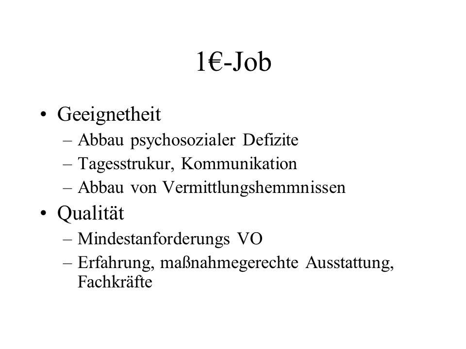 1€-Job Geeignetheit –Abbau psychosozialer Defizite –Tagesstrukur, Kommunikation –Abbau von Vermittlungshemmnissen Qualität –Mindestanforderungs VO –Er