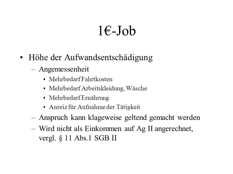 1€-Job Höhe der Aufwandsentschädigung –Angemessenheit Mehrbedarf Fahrtkosten Mehrbedarf Arbeitskleidung, Wäsche Mehrbedarf Ernährung Anreiz für Aufnah