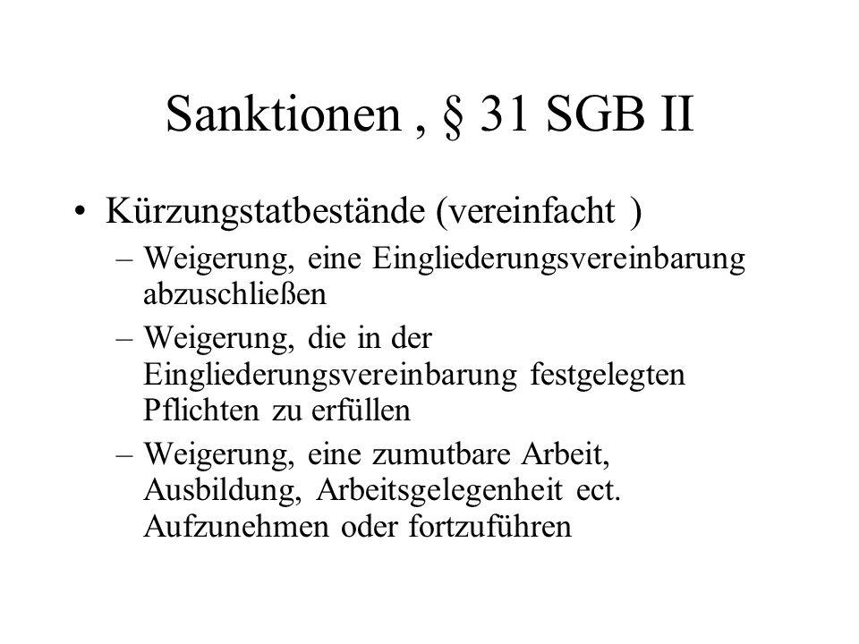 Sanktionen, § 31 SGB II Kürzungstatbestände (vereinfacht ) –Weigerung, eine Eingliederungsvereinbarung abzuschließen –Weigerung, die in der Einglieder