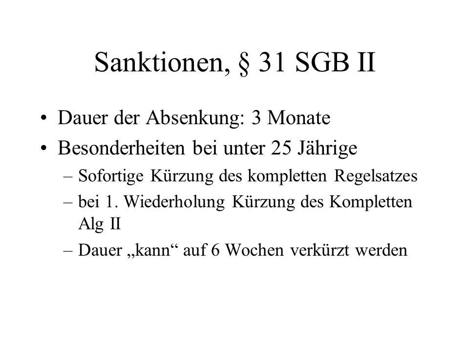 Sanktionen, § 31 SGB II Dauer der Absenkung: 3 Monate Besonderheiten bei unter 25 Jährige –Sofortige Kürzung des kompletten Regelsatzes –bei 1. Wieder