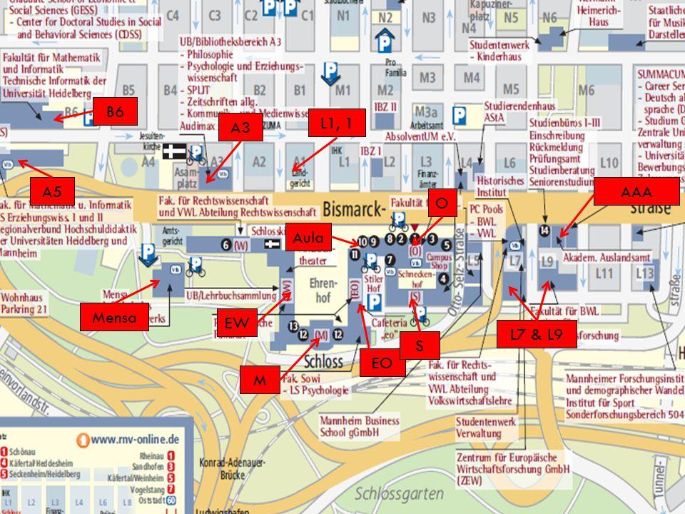 17 Arbeitskreis Wirtschaftspädagogik A3 O EO EW S A5 B6 L7 & L9 Mensa L1, 1 Aula M AAA FS Zimmer Parkring 39